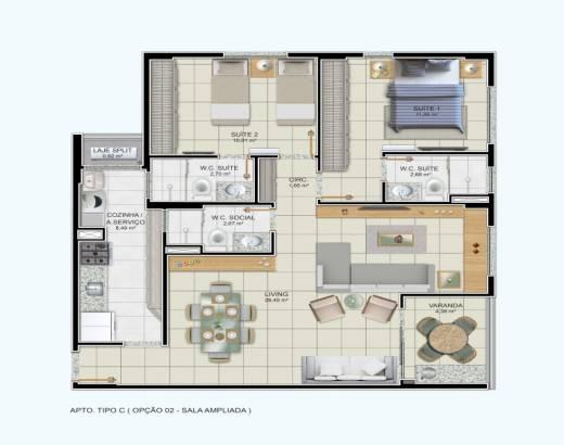 2/4 sendo 2 suítes, sala ampliada e varanda gourmet - 85,75m²