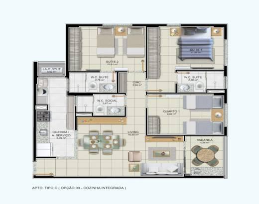 3/4 sendo 2 suítes, cozinha integrada e varanda gourmet - 85,75m²