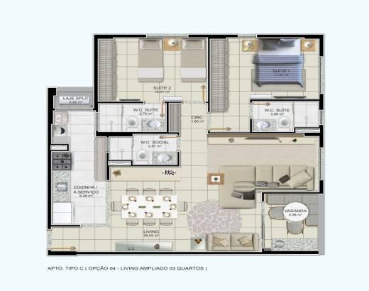 2/4 sendo 2 suítes, sala ampliada, cozinha integrada e varanda gourmet - 85,75m²