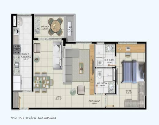 1 suíte, sala ampliada e varanda gourmet - 67,10m²