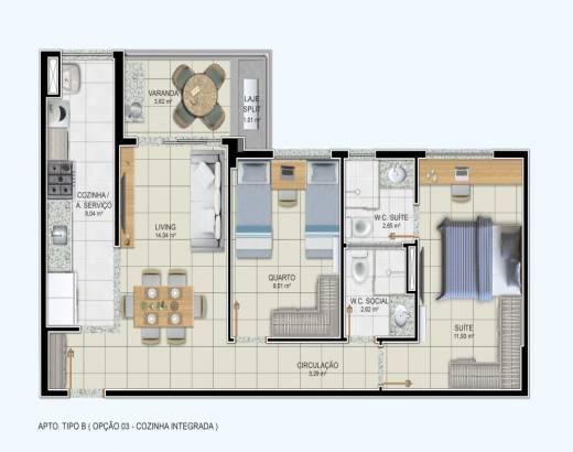 2/4 sendo 1 suíte, cozinha integrada e varanda gourmet - 67,10m²
