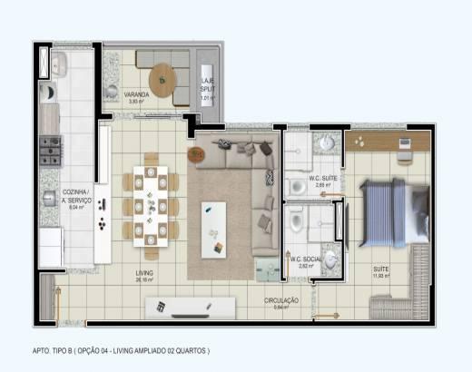 1 suíte com sala ampliada, cozinha integrada e varanda gourmet - 67,10m²