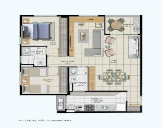 2/4 sendo 1 suíte, sala ampliada - 77,95m²