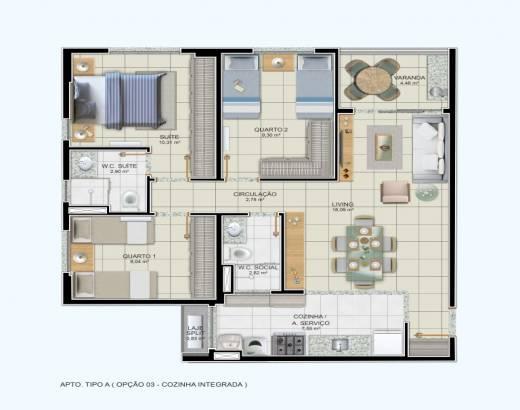 3/4 sendo 1 suíte e cozinha integrada - 77,95m²