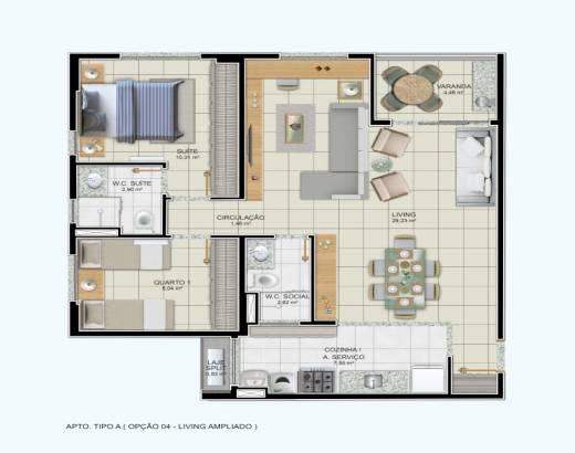 2/4 sendo 1 suíte, sala ampliada, cozinha integrada e varanda gourmet - 77,95m²
